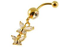 Se mere om Navle piercing i flot design med vedhæng med to sommerfulge i klare sten i web-butikken