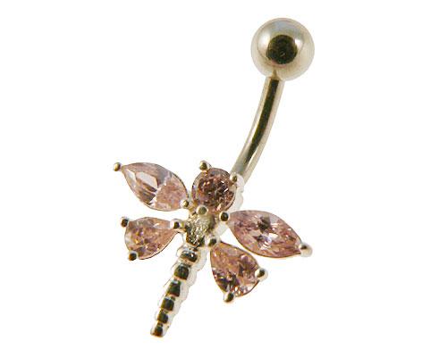 Se mere om navleringe udformet som en bi af sølv med lyserøde sten i web-butikken