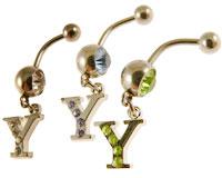 Se mere om Navlering med Y i klare, lyseblå, eller grønne sten i web-butikken