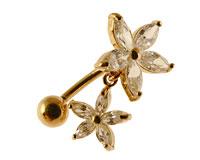 Se mere om Navlepiercing i 14 Karat guld af blomst og vedhæng med blomst i web-butikken