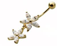 Se mere om Navle piercing i flot design med vedhæng med to blomster i klare sten i web-butikken
