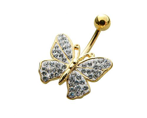 Se mere om navle piercing i guld med sommerfulg  i web-butikken