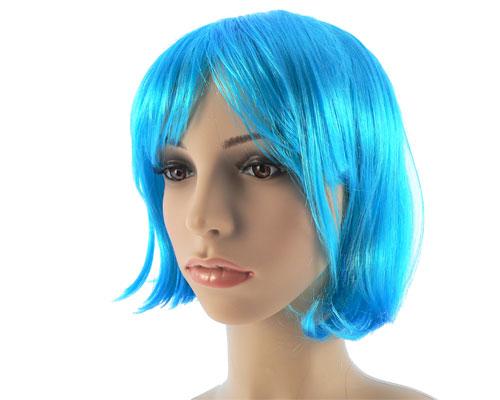 Se mere om neon blå kort paryk i web-butikken