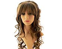 Brunt hår med lyse striber og slangekrøller (SP008)