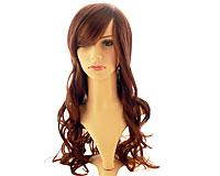 Se mere om Paryk med langt glansfuldt rødbrunt hår med slangekrøller i web-butikken