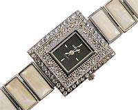 Se mere om Smykkeur med firkantet urkasse med sort urskive i web-butikken