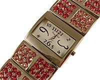 Se mere om Smykkeur med bred sølvfarvet og lyserøde similisten sten i web-butikken