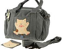 Se mere om Kokocat hånd og skuldertaske i grå farve med stor kat på siden af tasken i web-butikken