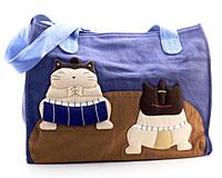Se mere om Mørkeblå og brun taske med katte fra Le Baobab i web-butikken