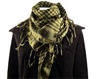 Se mere om Partisantørklæde i olivengrøn og sort farve i web-butikken