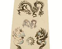 Se mere om Tattoo til børn med to drager i sorte og blå faver i web-butikken